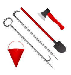 Set of fire tools red vector