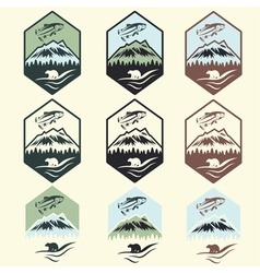 set of vintage fishing camp labels with salmon and vector image