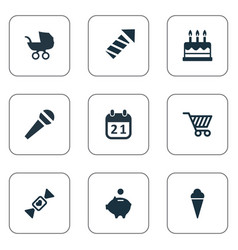 Set simple birthday icons vector