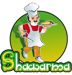 Shish kebab cook east kitchen character vector