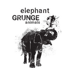 silhouette elaphant in grunge design style animal vector image