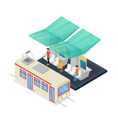 Streetcar stop isometric 3d icon vector