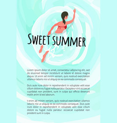 Sweet summer woman swimming in water summertime vector