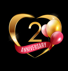 template gold logo 2 years anniversary with ribbon vector image