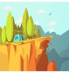 Tent On A Cliff vector image