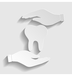 Tooth sign Paper style icon vector image