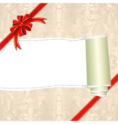 Torn wrapping paper with ribbons vector