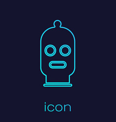 Turquoise line balaclava icon isolated on blue vector