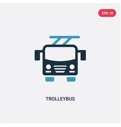 two color trolleybus icon from transportation vector image
