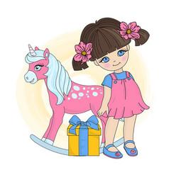 Unicorn girl valentines day vector
