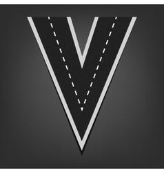 V letter road font vector