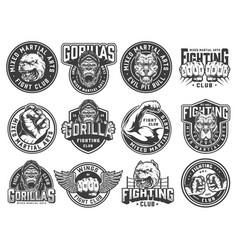 Vintage monochrome fight club labels vector