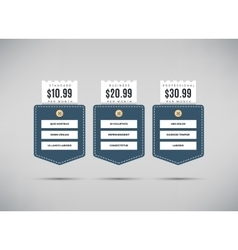 Web pricing table with comparison of business vector image