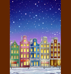 winter town at night vector image