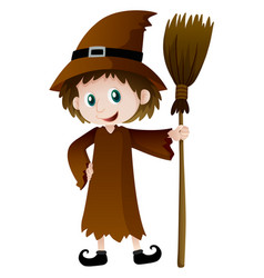 Witch holding magic broomstick vector
