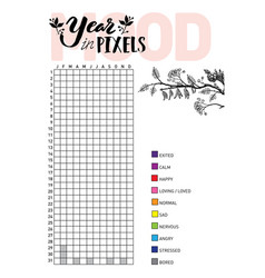 Year in pixels your mood habit tracker blank vector