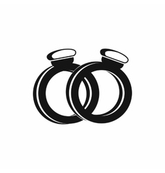 A pair of gold wedding rings icon simple style vector image