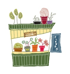 A view of flower shop vector image vector image