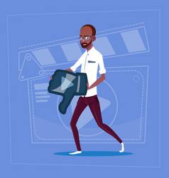 African american man hold thumb down modern video vector