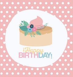 color pastel background with dots and cake happy vector image vector image