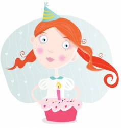 small girl with cake vector image vector image