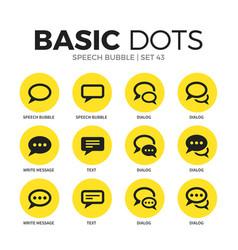 Speech bubble flat icons set vector