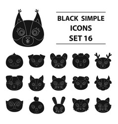 animal muzzle set icons in black style big vector image