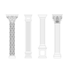 contouring coloring of classical columns vector image