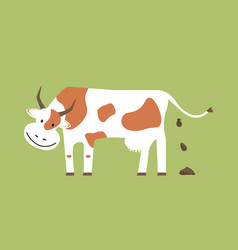 cow and organic manure vector image vector image