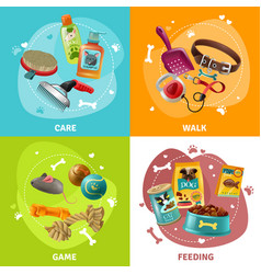 pet care concept 4 icons square design vector image vector image