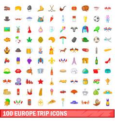 100 europe trip icons set cartoon style vector image