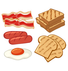 breakfast set with sausages and bread vector image vector image