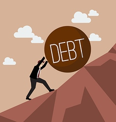 Businessman pushing heavy debt uphill vector image vector image