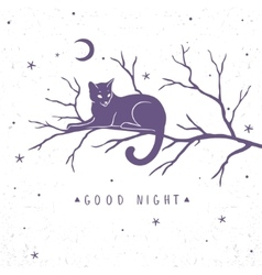cat silhouette on tree vector image vector image