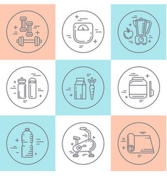 fitness line icons vector image