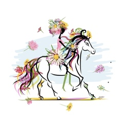 Floral girl on white horse for your design vector image vector image
