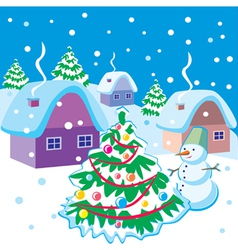 Landscape with snowman and Christmas tree vector image vector image