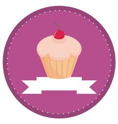 sweet retro cherry cupcake button vector image