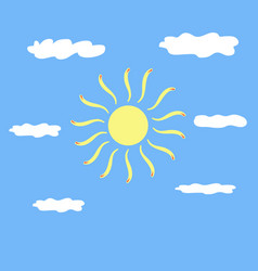 The sun and cloud sign on blue background vector