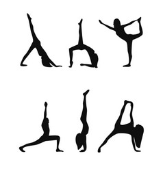 yoga poses black silhouettes set vector image