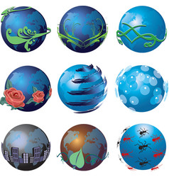 3d go green globe icons vector image