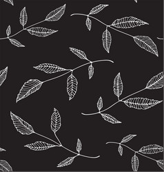 black an white floral seamless pattern background vector image vector image
