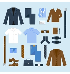 Businessman clothes icons set vector image vector image