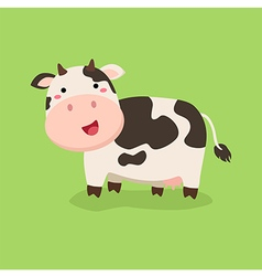 Cute Cow Standing in Green Background vector image vector image