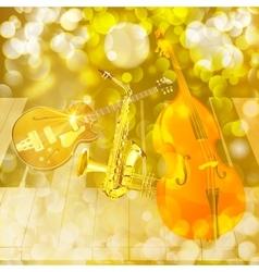jazz instruments on shiny background vector image