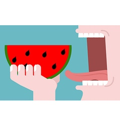 Man eating watermelon fruit consumption Red fresh vector image