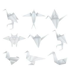 Origami birds set vector image vector image