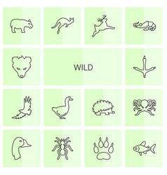 14 wild icons vector image