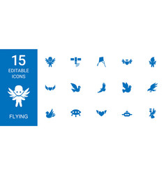15 flying icons vector