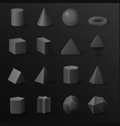 3d basic volumetric black diamond shapes figures vector